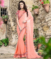 Pink Color Half Chiffon & Half Art Silk Designer Festive Sarees : Nehashi Collection  YF-53170