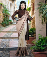 Cream Color Lycra Designer Festive Sarees : Nehashi Collection  YF-53171