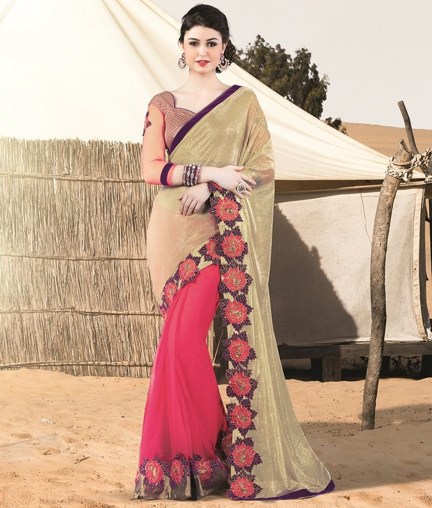 Golden & Pink Color Half Tissue Net & Half Satin Designer Festive Sarees : Jugni Collection  NYF-1555 - YellowFashion.in