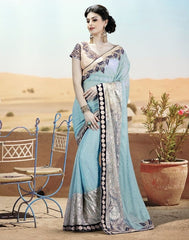 Blue Color Lycra Net Designer Festive Sarees : Nehashi Collection  YF-53173