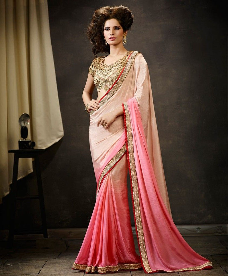 Baby Pink & Light Pink Color Satin Silk Designer Wedding Wear Sarees : Pakhudi Collection  NYF-1502 - YellowFashion.in