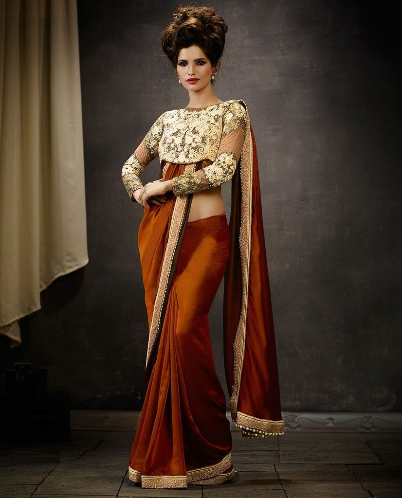 Coffee Color Satin Silk Designer Wedding Wear Sarees : Pakhudi Collection  NYF-1503 - YellowFashion.in