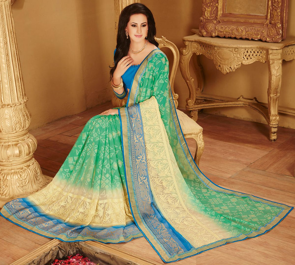 Aqua Green Color Wrinkle Chiffon Designer Party Wear Sarees : Kaviya Collection  NYF-2814 - YellowFashion.in