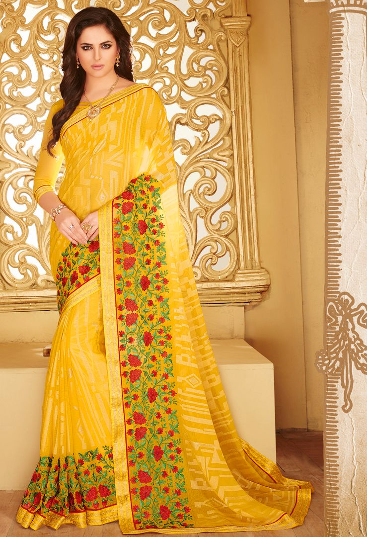 Yellow Color Wrinkle Chiffon Designer Party Wear Sarees : Kaviya Collection  NYF-2817 - YellowFashion.in