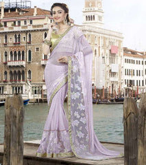 Lavender Color Lycra Net Designer Festive Sarees : Ritisha Collection  YF-53159