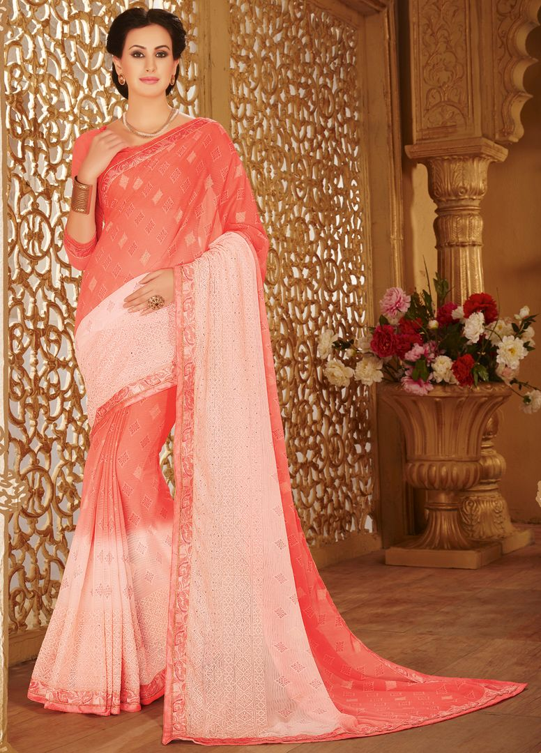 Pink Color Wrinkle Chiffon Designer Party Wear Sarees : Kaviya Collection  NYF-2818 - YellowFashion.in