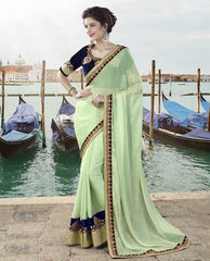 Pastel Green Color Silk Georgette Designer Festive Sarees : Ritisha Collection  YF-53160