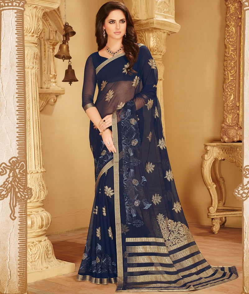 Blue Color Wrinkle Chiffon Designer Party Wear Sarees : Kaviya Collection  NYF-2820 - YellowFashion.in