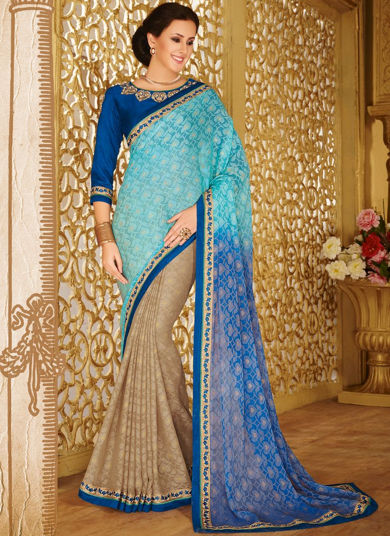 Sky Blue & Blue Color Wrinkle Chiffon Designer Party Wear Sarees : Kaviya Collection  NYF-2824 - YellowFashion.in