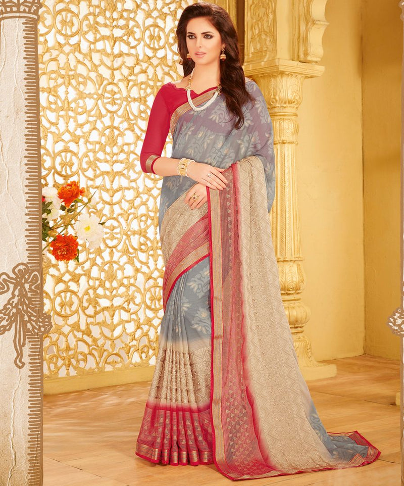 Grey Color Wrinkle Chiffon Designer Party Wear Sarees : Kaviya Collection  NYF-2825 - YellowFashion.in