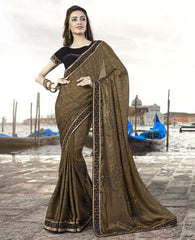Mehendi Green & Brown Color Silk Georgette Designer Festive Sarees : Ritisha Collection  YF-53163