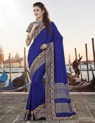 Blue Color Silk Designer Festive Sarees : Ritisha Collection  YF-53164