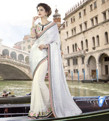 White Color Georgette Designer Festive Sarees : Ritisha Collection  YF-53165