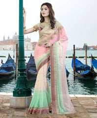 Pink & Pastel Green Color Chiffon Designer Festive Sarees : Ritisha Collection  YF-53166