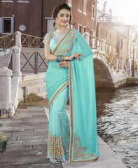 Firozi Color Half Georgette & Half Net Designer Festive Sarees : Ritisha Collection  YF-53167