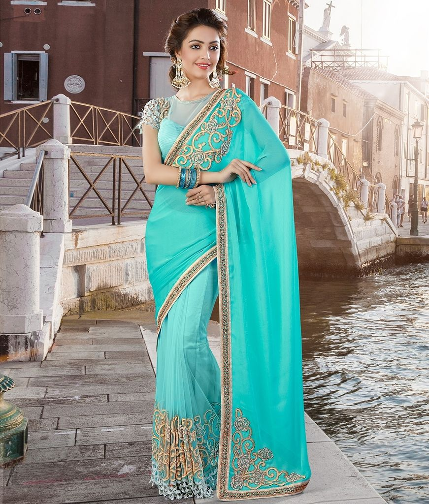 Aqua Blue Color Half Net & Half Wrinkle Chiffon Designer Festive Sarees : Jugni Collection  NYF-1565 - YellowFashion.in