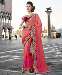 Peach & Pink Color Silk Georgette Designer Festive Sarees : Ritisha Collection  YF-53168
