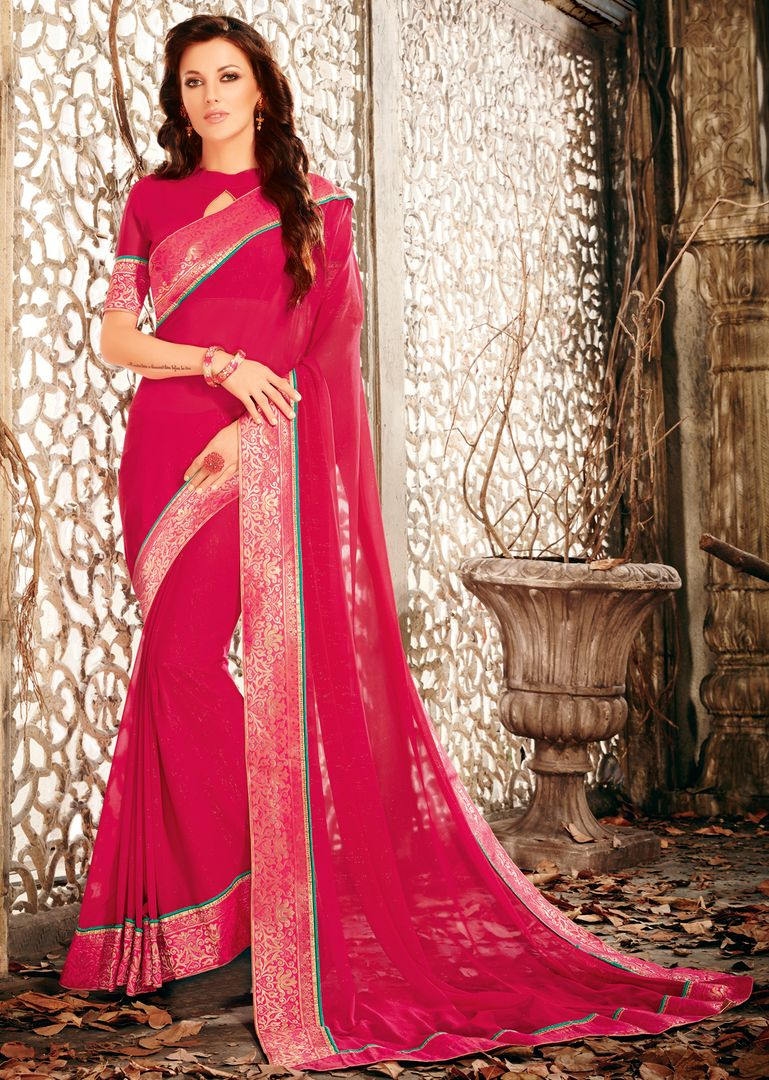 Pink Color Shimmer Chiffon Designer Festive Sarees : Ekani Collection  NYF-2836 - YellowFashion.in