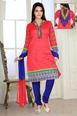 Pink and Blue Color Chanderi Readymade Salwar Suits ( Sizes - 38, 42, 44 ) : Solitaire Collection  YF-23414