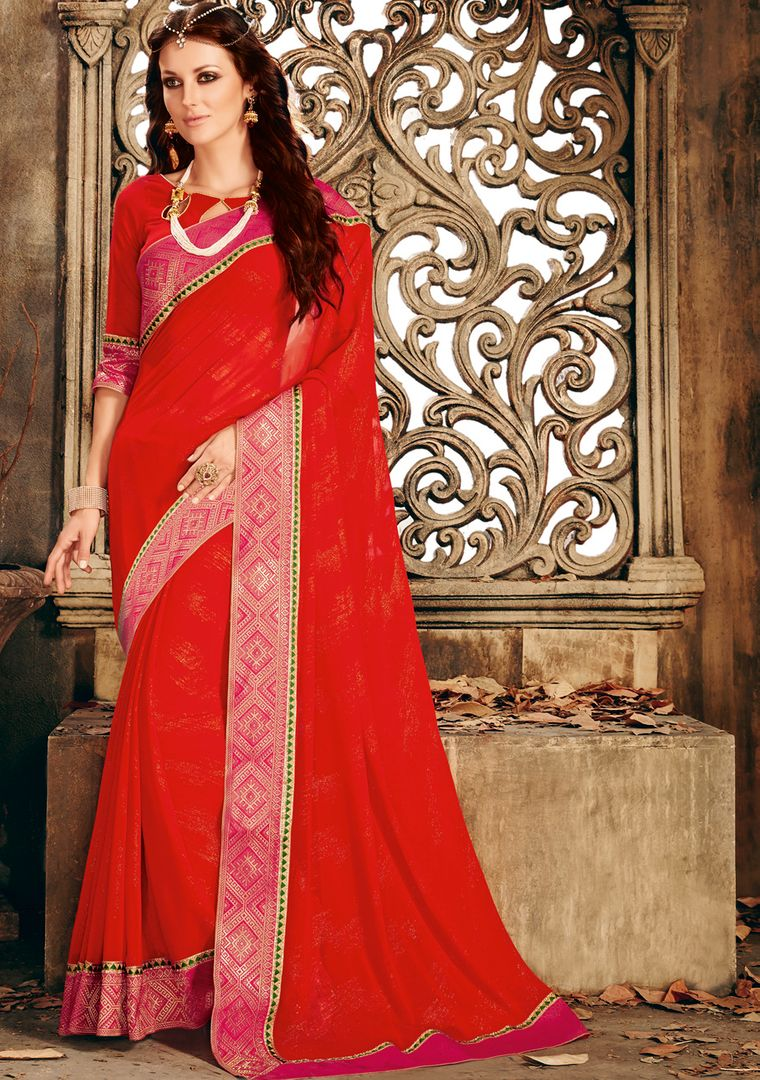 Red Color Shimmer Chiffon Designer Festive Sarees : Ekani Collection  NYF-2837 - YellowFashion.in