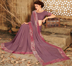 Purple Color Shimmer Chiffon Designer Festive Sarees : Ekani Collection  NYF-2838