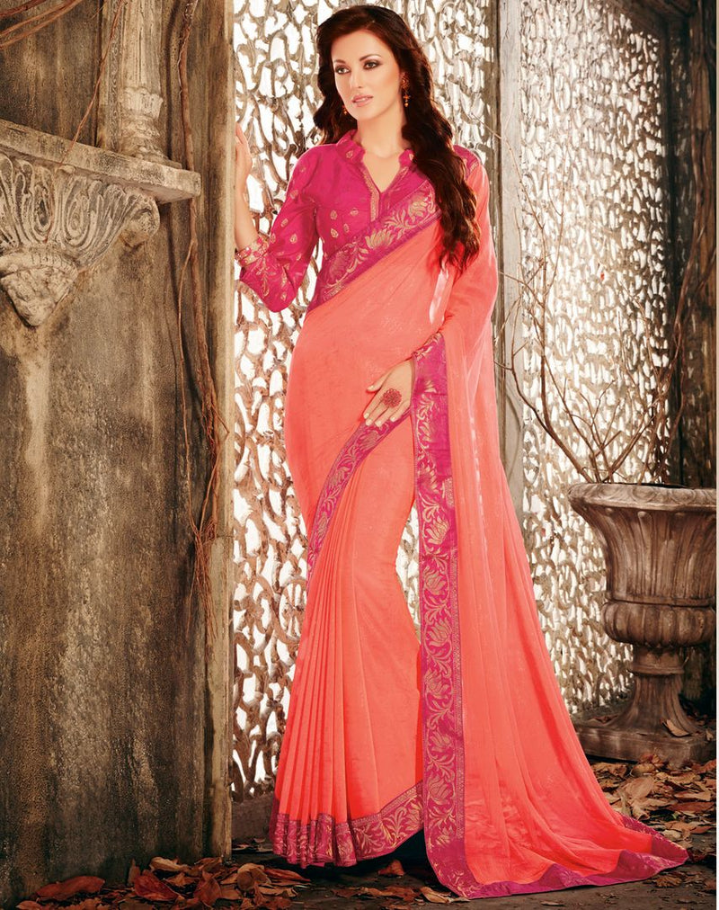 Peach Color Shimmer Chiffon Designer Festive Sarees : Ekani Collection  NYF-2839 - YellowFashion.in