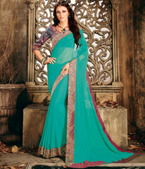 Firozi Color Shimmer Chiffon Designer Festive Sarees : Ekani Collection  NYF-2841
