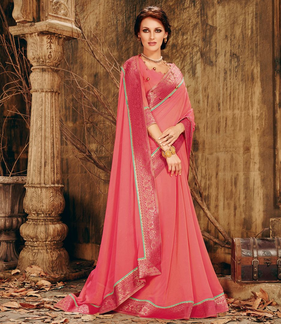 Pink Color Shimmer Chiffon Designer Festive Sarees : Ekani Collection  NYF-2842 - YellowFashion.in