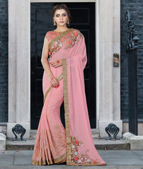 Baby Pink Color Chiffon Designer Festive Sarees : Prasrit Collection  YF-53150