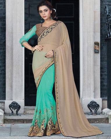 Light Coffee & Sea Green Color Half Net & Half Georgette Designer Festive Sarees : Jugni Collection  NYF-1569