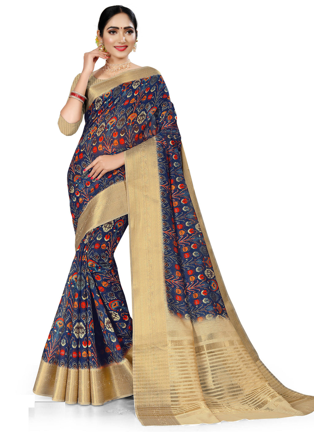 Blue Color Banarasi Weaving Dola Silk Festive Wear Digital Print Sarees NYF-7757