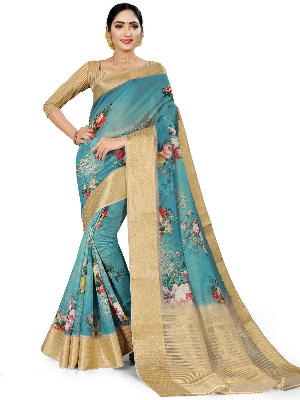 Aqua Blue Color Banarasi Weaving Dola Silk Festive Wear Digital Print Sarees NYF-7758