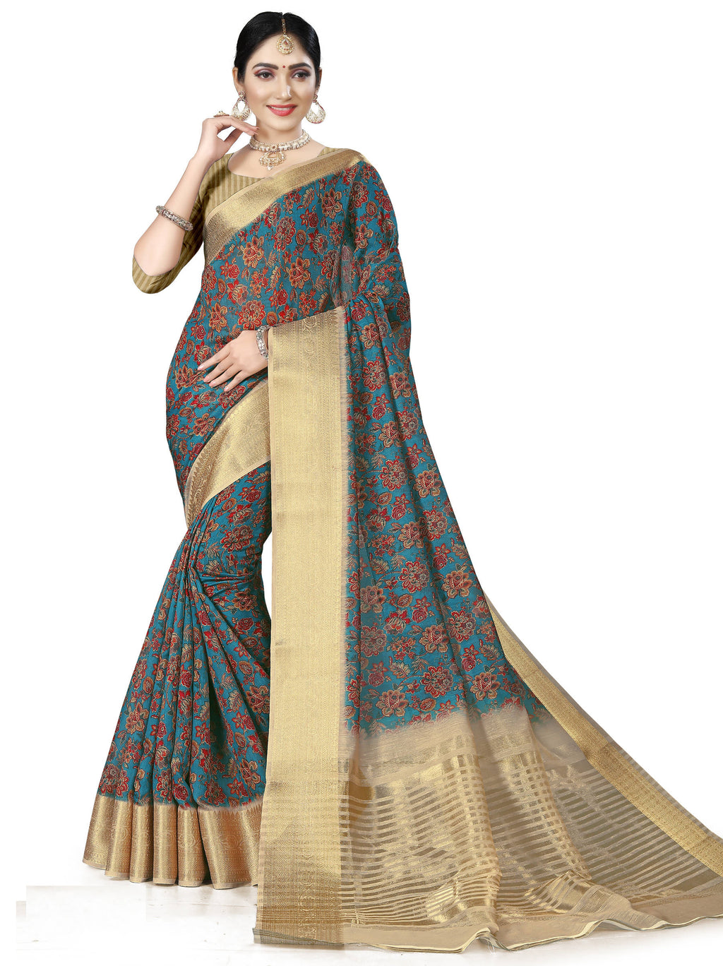 Blue Color Banarasi Weaving Dola Silk Festive Wear Digital Print Sarees NYF-7759