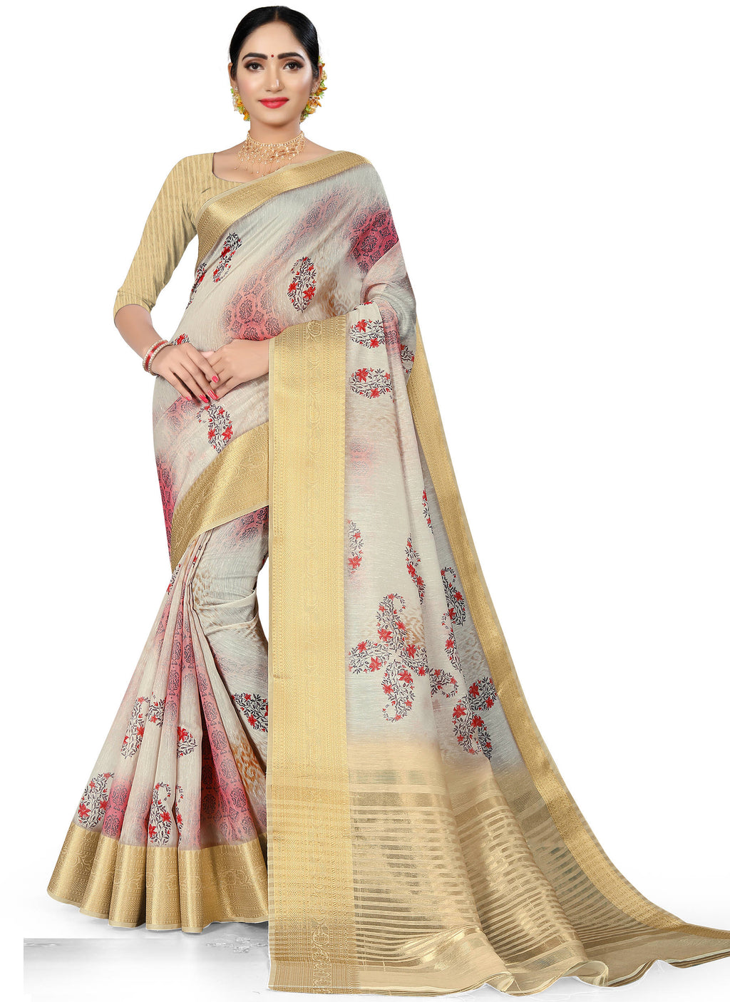Grey Color Banarasi Weaving Dola Silk Festive Wear Digital Print Sarees NYF-7760