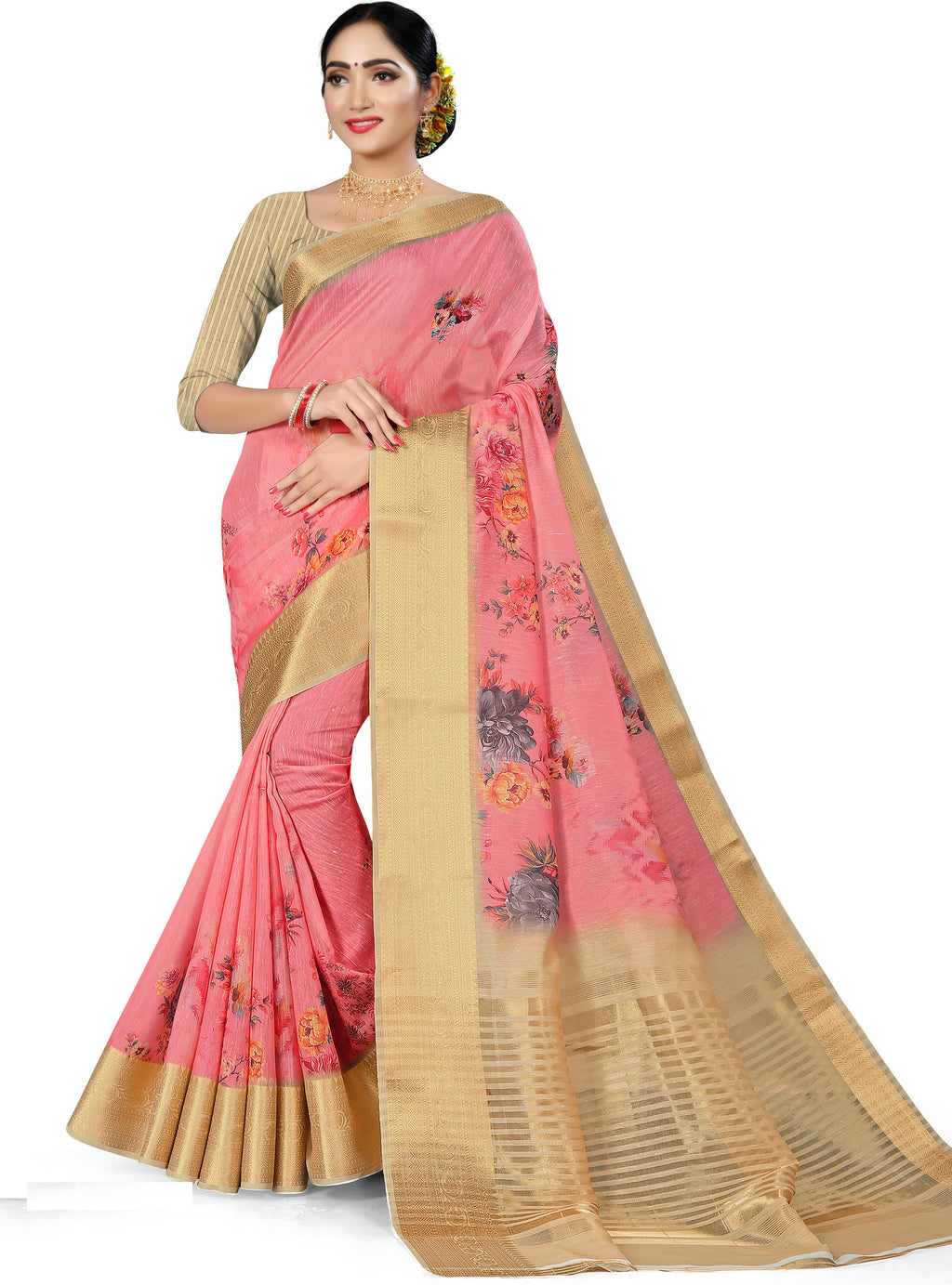 Pink Color Banarasi Weaving Dola Silk Festive Wear Digital Print Sarees NYF-7762
