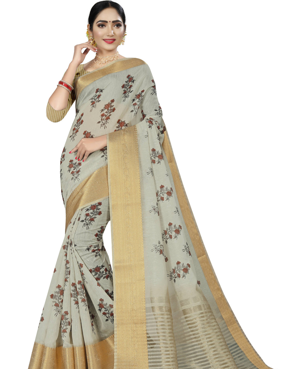 Grey Color Banarasi Weaving Dola Silk Festive Wear Digital Print Sarees NYF-7763