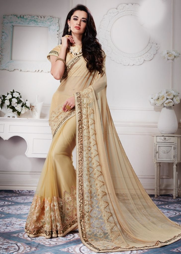 Light Golden Color Half Net & Half Knitted Net Designer Festive Sarees : Jugni Collection  NYF-1570 - YellowFashion.in