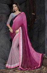 Shades of Pink and Grey Color Half Georgette and Half Brasso Designer Sarees : Saanjh Collection  YF-23460