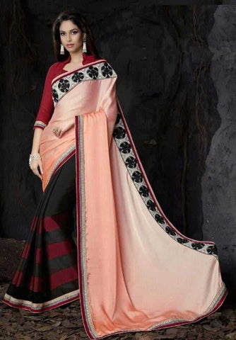 Shades of Peach and Black Color Half Wrinkle Crepe and Half Georgette Designer Sarees : Saanjh Collection  YF-23462