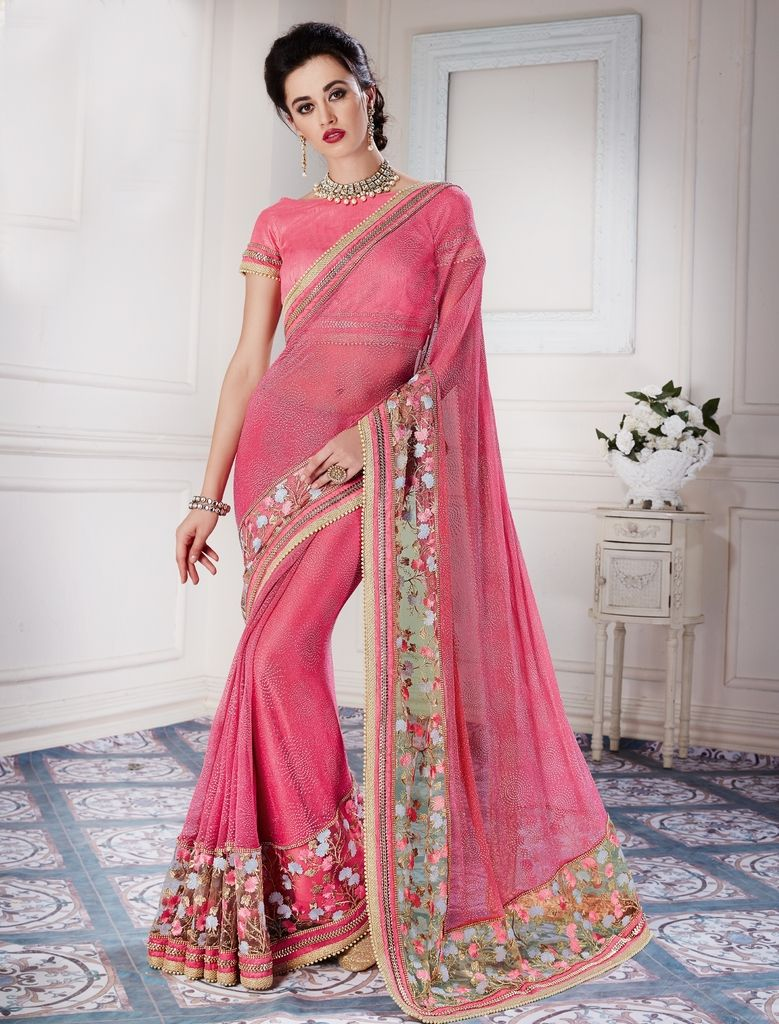 Pink Color Fancy Net Designer Festive Sarees : Jugni Collection  NYF-1572 - YellowFashion.in
