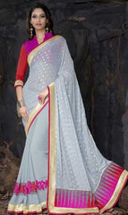 Grey and Pink Color Half Georgette and Half Georgette Butti Designer Sarees : Saanjh Collection  YF-23467