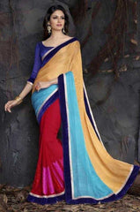 Blue and Yellow Color Half Resham Patta and Half Georgette Designer Sarees : Saanjh Collection  YF-23469