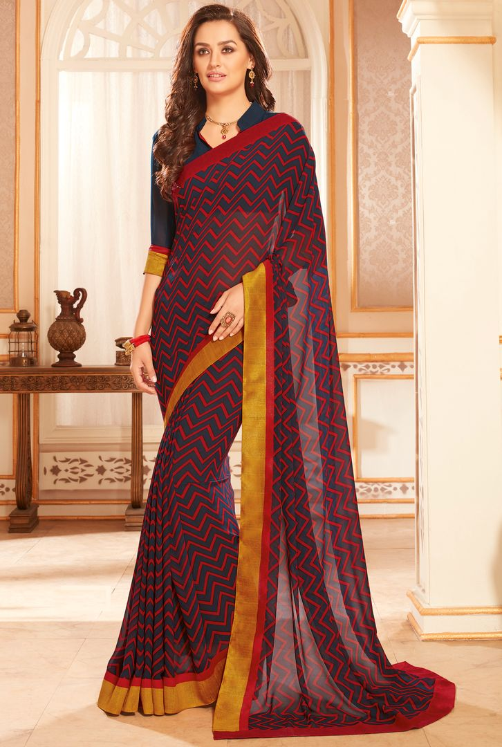 Maroon & Blue Color Georgette Kitty Party Sarees : Radhana Collection  NYF-2724 - YellowFashion.in