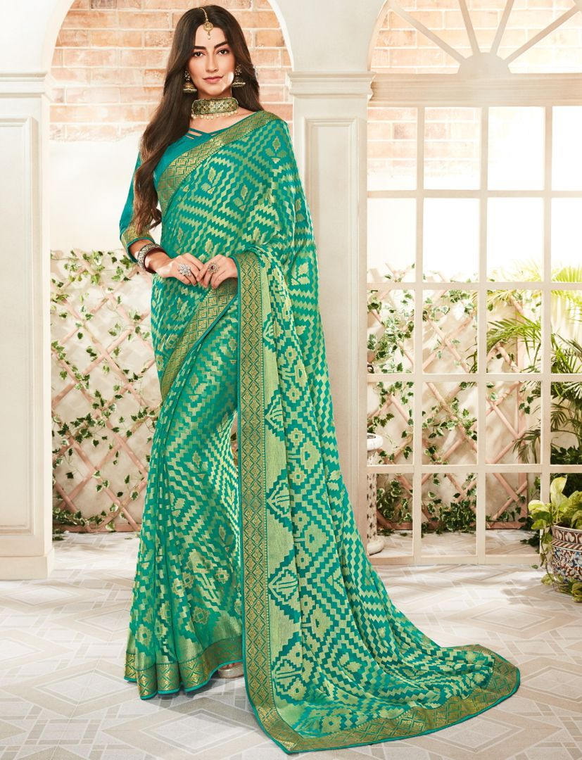 Sea Green Color Brasso Beautiful Kitty Party Sarees NYF-4418