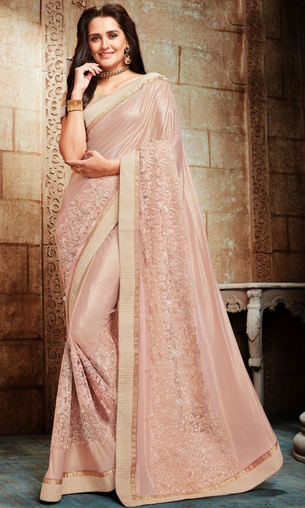 Baby Pink Color Shimmer Lycra Designer Festive Sarees : Jugni Collection  NYF-1574 - YellowFashion.in