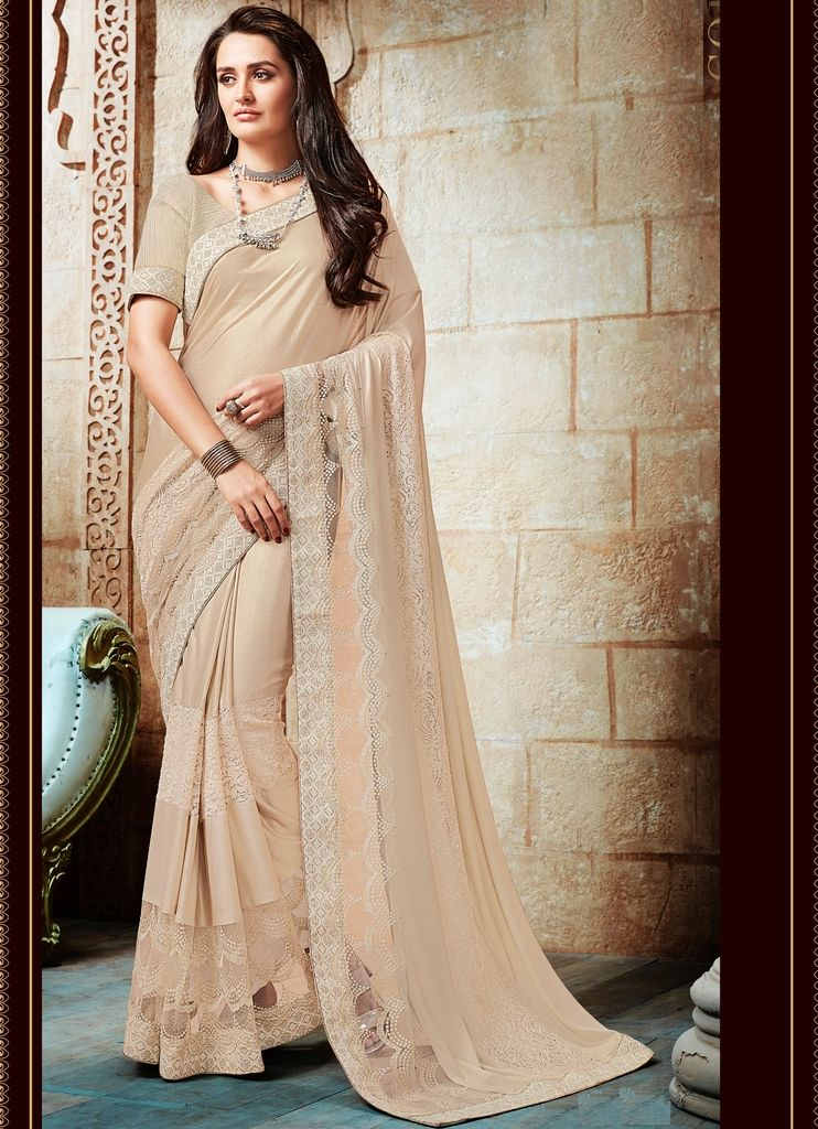 Cream Color Half Lycra & Half Net Designer Festive Sarees : Jugni Collection  NYF-1576 - YellowFashion.in