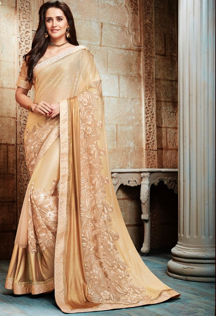 Golden Color Half Lycra & Half Net Designer Festive Sarees : Jugni Collection  NYF-1596 - YellowFashion.in