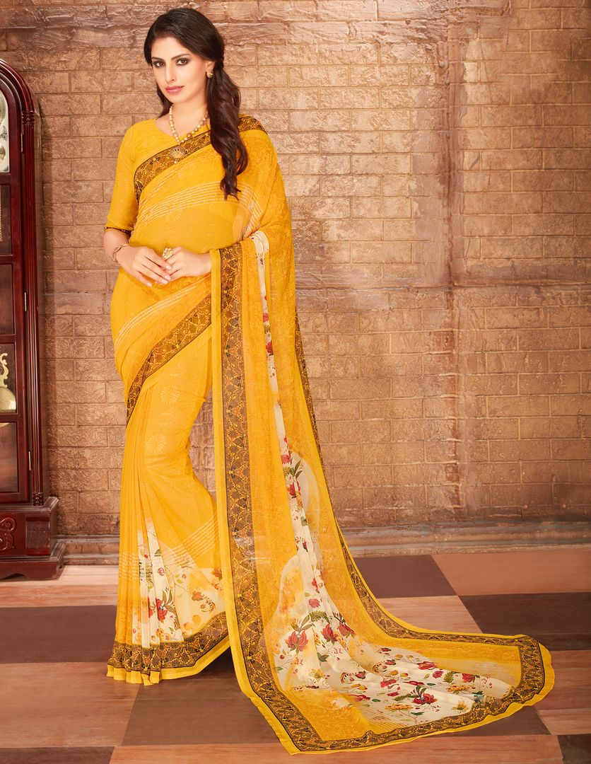 Yellow Color Georgette Kitty Party Sarees : Radhana Collection  NYF-2714 - YellowFashion.in