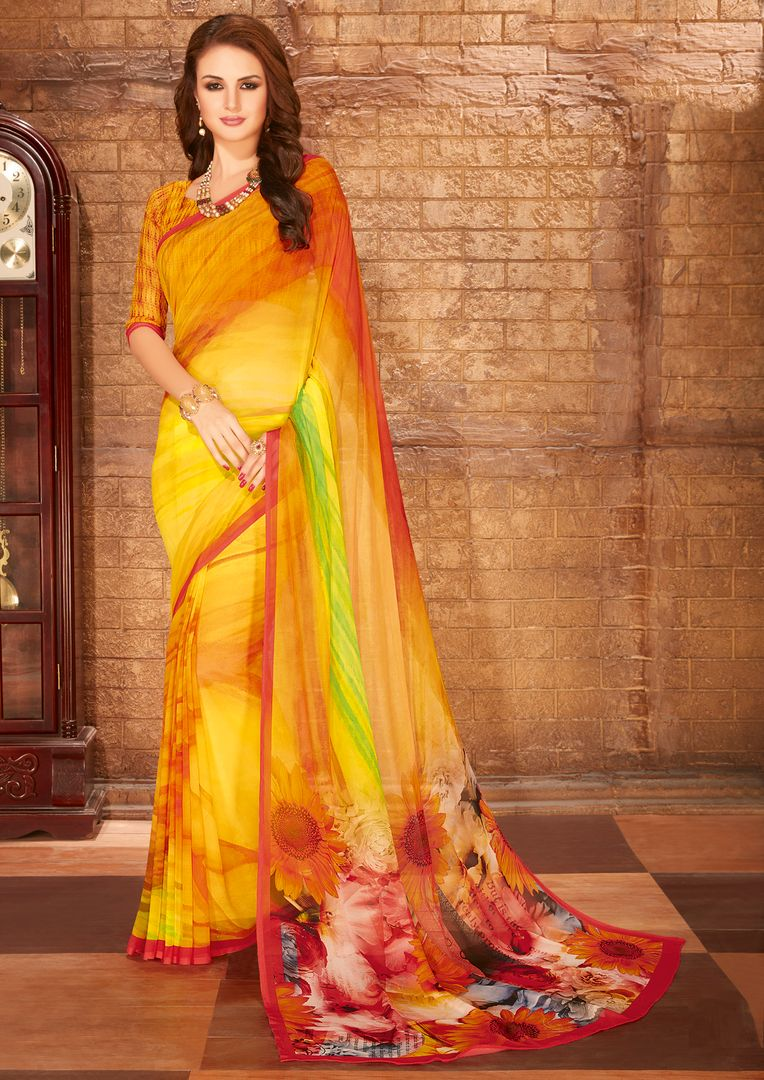 Yellow Color Georgette Kitty Party Sarees : Radhana Collection  NYF-2719 - YellowFashion.in