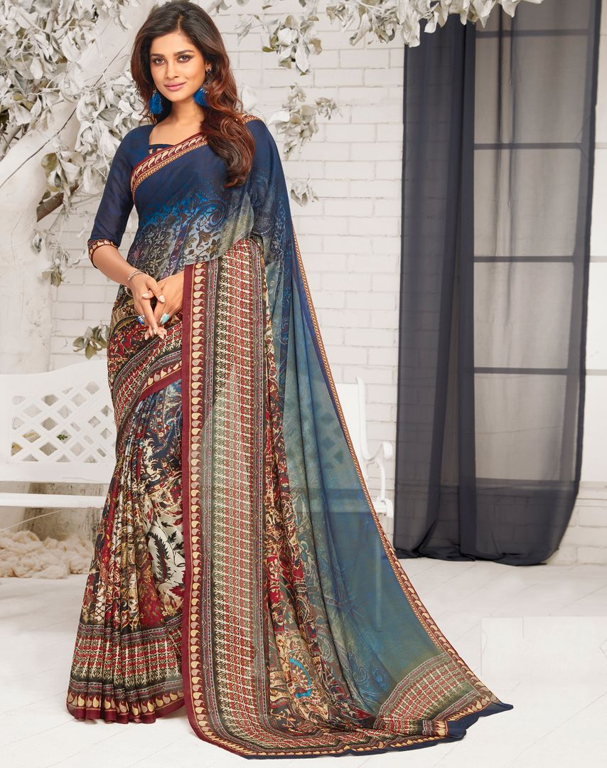 Multi Color Chiffon Party Wear Sarees : Pinati Collection  NYF-3387 - YellowFashion.in